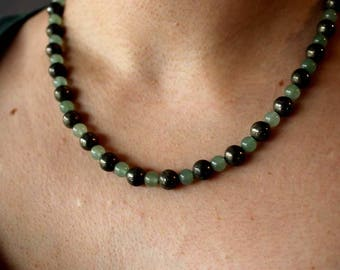 Gemstone Bead Necklace with pyrite and aventurine