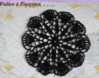 Dream catcher black cotton crochet round doily