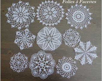 White crochet doilies, assortment 10 crochet placemats, doily for dream catchers, decoration