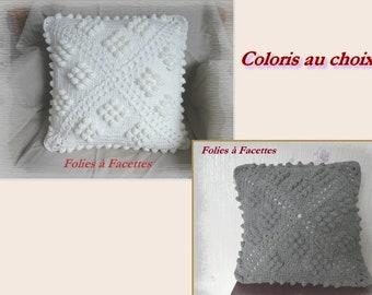 Crochet cushion cover, ecru cushion cover or grey crochet, decoration