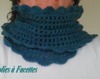 snood heater shoulder blue Mint crochet