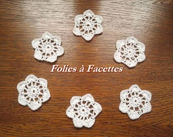 White flowers set of 6 cotton crocheted