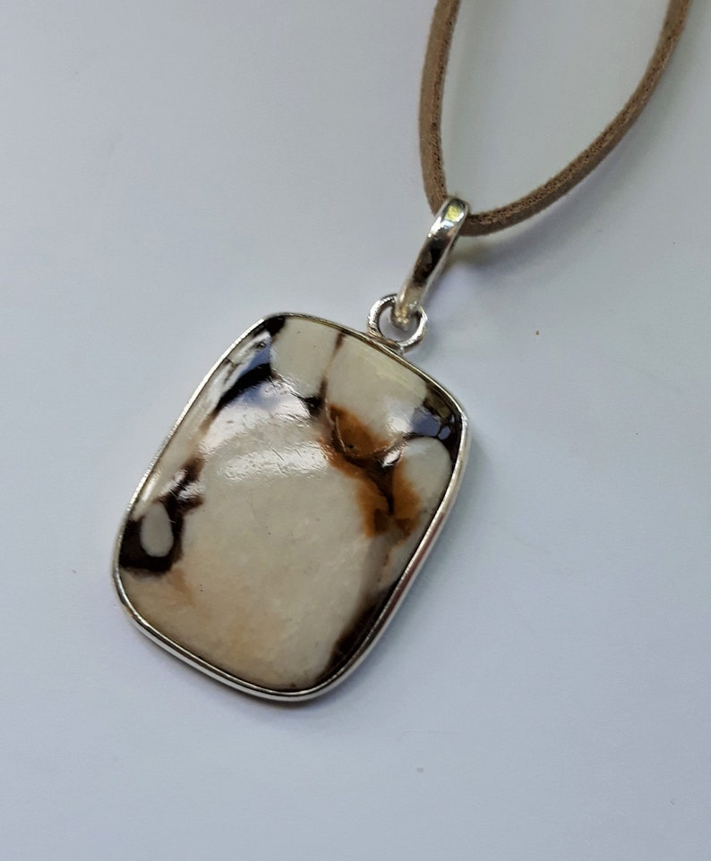 Cushion Shape Wood Jasper on Faux Suede Cord Sterling Silver Jasper Pendant