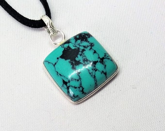 Sterling Silver Turquoise Pendant, Cushion/TV Shape on Faux Suede Cord