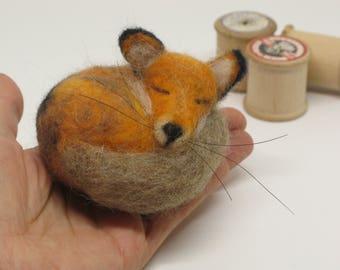 Needle Felted Fox Needle Felt Fox Sleeping by Loosemoosey