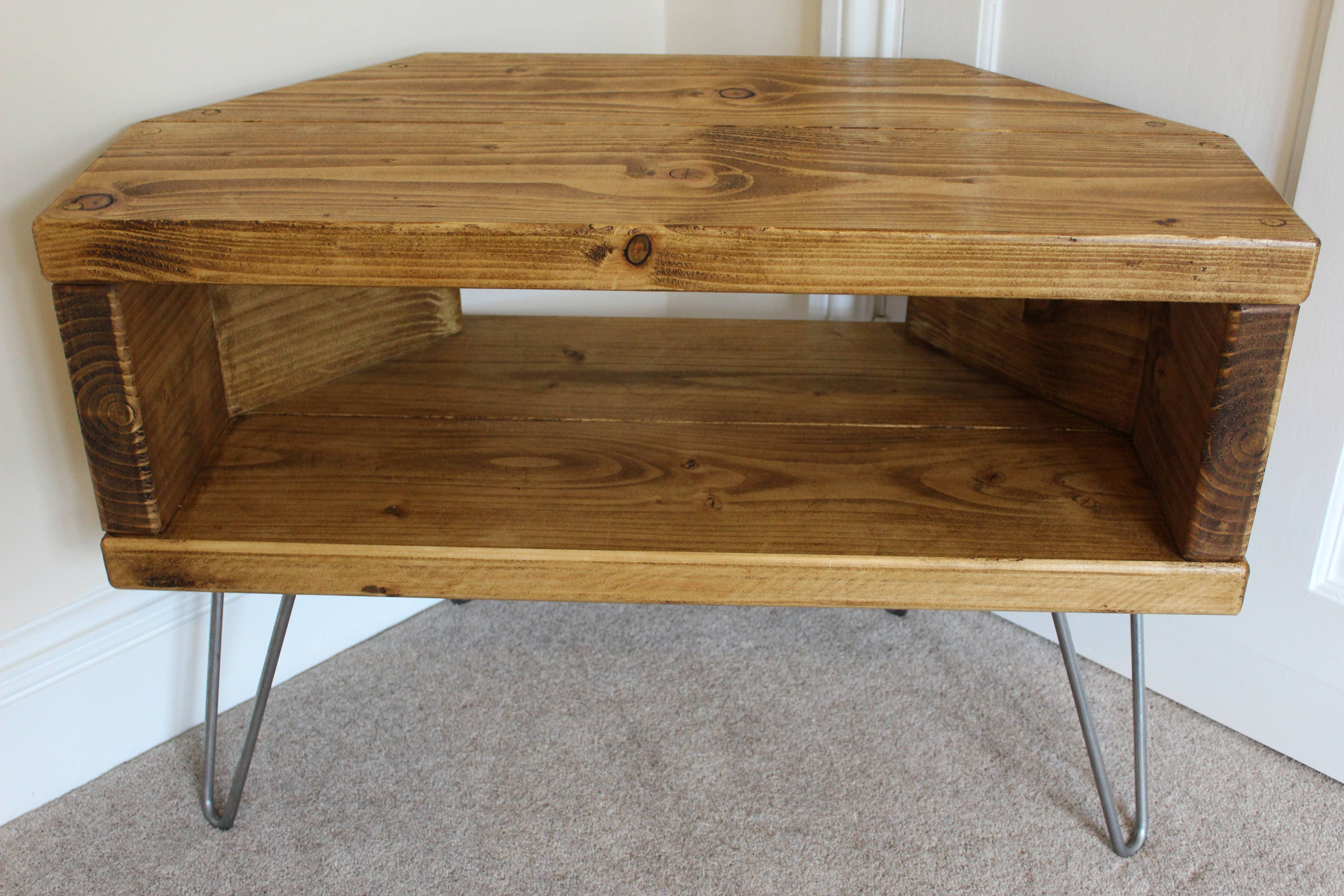 Reclaimed Rustic Wooden Corner Tv Stand Cabinet Unit Solid Etsy