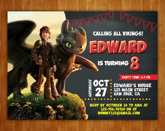 How To Train Your Dragon Invitation Etsy
