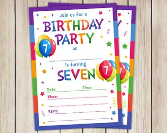 7 year old invite etsy