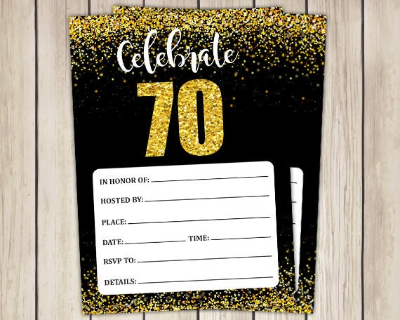 70th Birthday Invitations 70 Year Old Printable