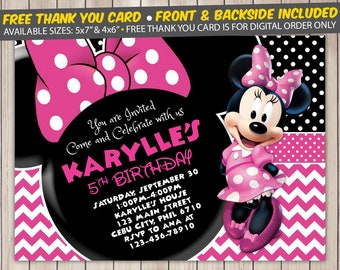 Minnie Mouse Invitation, Minnie Mouse Birthday Invitation, Minnie Mouse Birthday Party, Minnie Mouse Thank You Card, Personalized, Digital