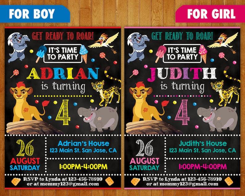 Lion Guard Birthday Invitation Party Printables Personalized Custom