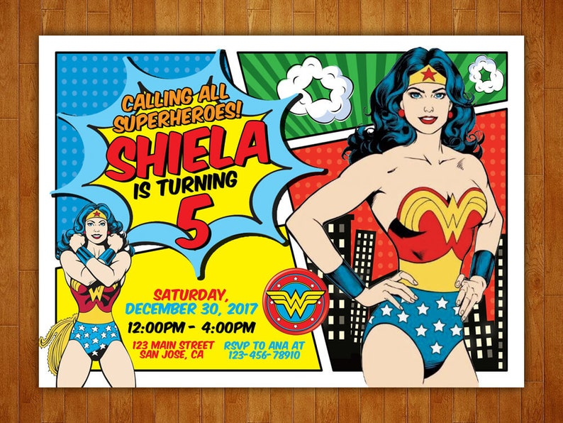 Wonder Woman Birthday Invitation Wonder Woman Invitation Wonder Woman Party Wonder Woman Printables Free Thank You Card