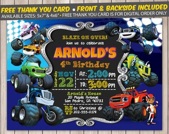 Blaze and the Monster Machines Invitation, Blaze and the Monster Machines Birthday Invitation, Blaze and the Monster Machines Birthday Party