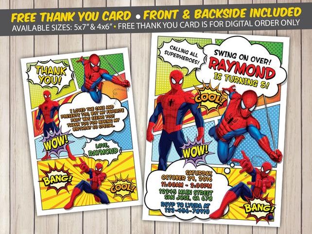 Spiderman invitation spiderman birthday invitation spiderman etsy image 0 filmwisefo
