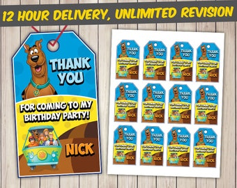Scooby Doo Thank You Tags, Scooby Doo Favor Tags, Scooby Doo Gift Tags, Scooby Doo Tags Printables, Scooby Doo Custom Tags, Scooby Doo Tags