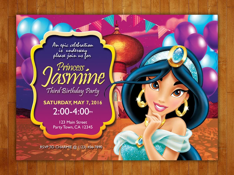 Printed Princess Jasmine Birthday Party Invitations On Premium