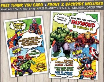 Avengers Invitation, Avengers Birthday Invitation, Avengers Birthday Party, Avengers Thank You Card, Personalized, Digital File, Printed