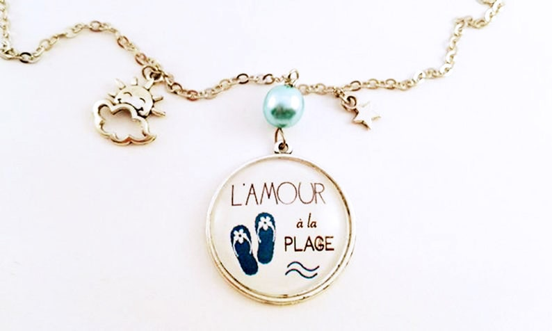 Words necklace Song Lyrics Love at the Beach Original image 0