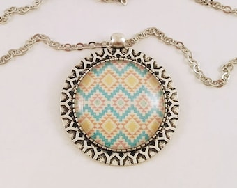 "Necklace Cabochon-> pendant ""yellow Aztec pattern and Pastel blue"""