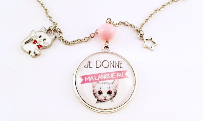 Mignon Necklace  Original I Give My Language To Cat Pastel image 0