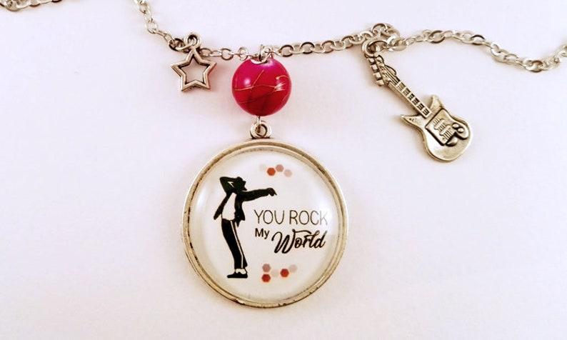 Necklace, You Rock My World, Michael Jackson, King of Pop, lyrics, song,  music, guitar charm, fantasy jewelry, Christmas gift