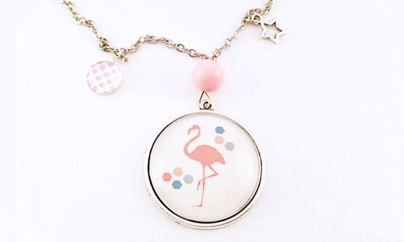 Silver necklace with Breloques Cute necklace Pastel color image 0