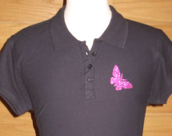 POLO Navy Blue sequined Butterfly 100% cotton pattern L