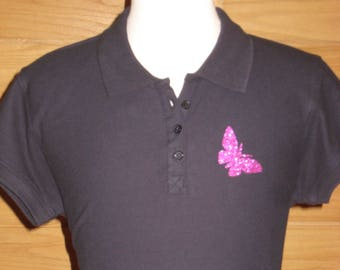 POLO Navy Blue sequined Butterfly 100% cotton pattern S
