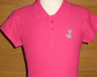 Hot pink glitter dog motif 100% cotton L POLO