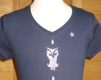 Tee - shirt XL Navy Blue 100% cotton OWL pattern