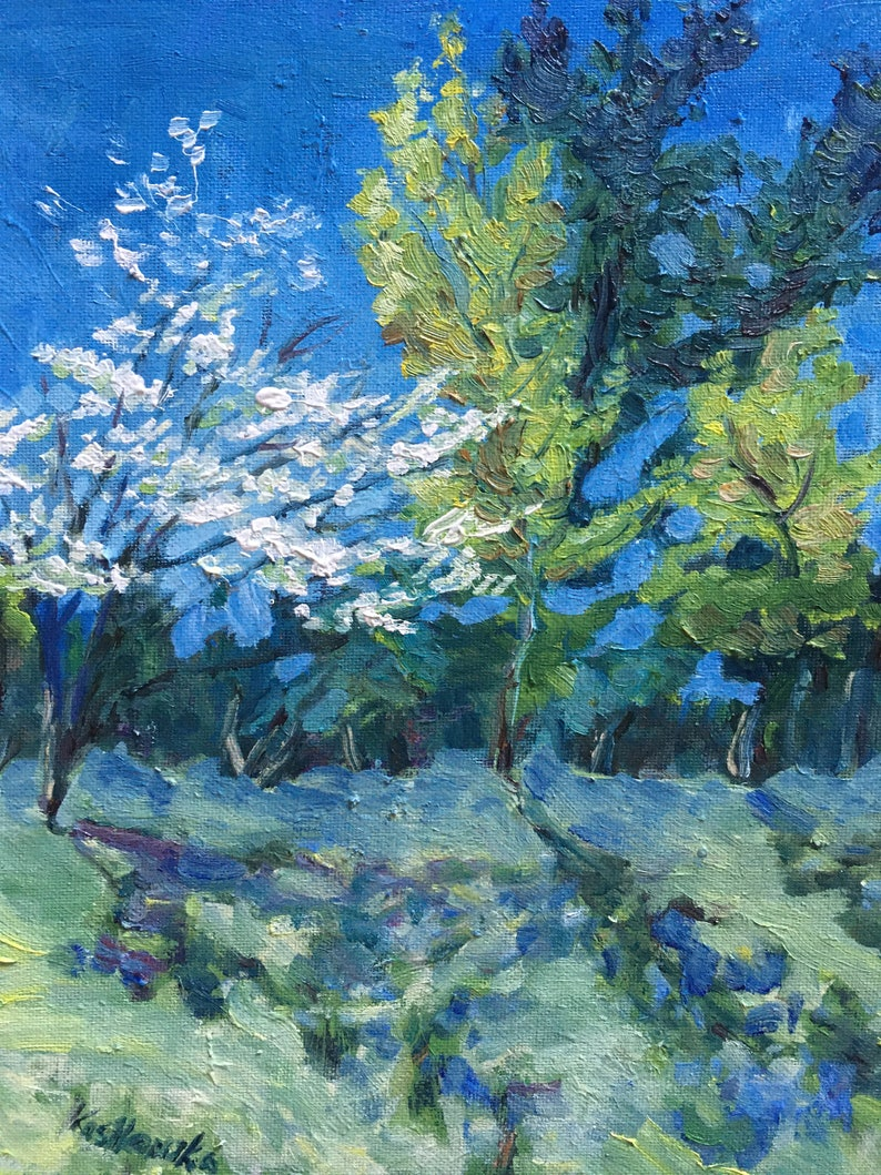 Dogwood Tree in Bloom: 9x11  Landscape Oil Painting Original image 0