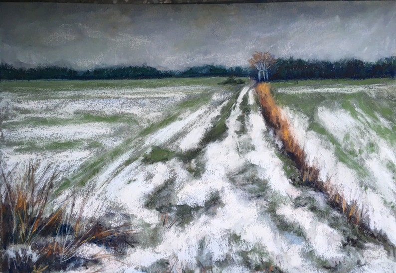 Winter Field in Snow/POLAND: Original ART Landscape Painting image 0