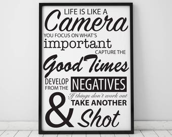 Life Is Like A Camera Inspirational Quote Archival Print A5, A4, A3 & A3+