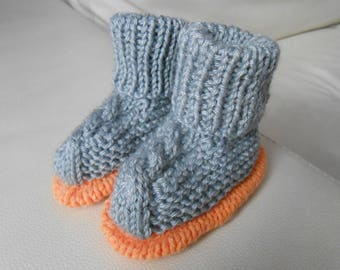 6 month baby booties knitted style boots with twisted hands
