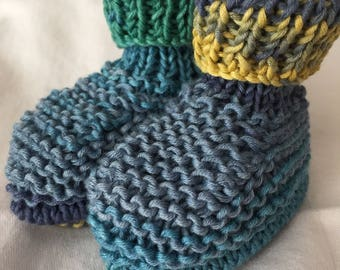 Baby booties knitted hands birth - 3 months cotton gradient blue green and yellow