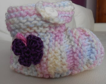 Baby booties knitted hands 6 months ballerinas multicolored Butterfly