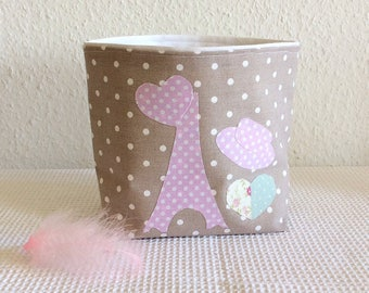 Tidy, trash basket pink and taupe basket taupe fabric and pink