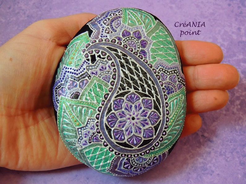 Paisley Decor On Hand Painted Stone In Dot Painting Etsy