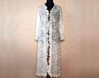 Sheer Robe For Women Robe Cotton, Vintage Robe Women Robe Long, White Robe Cotton Robe For Women, Long Robes For Women Robe Floral