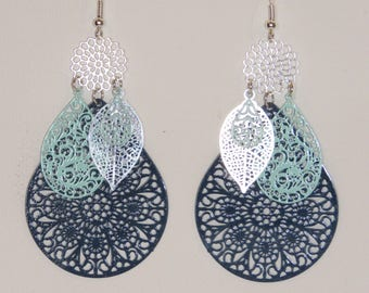 Large earrings drops, leaves, arabesques, earrings prints, turquoise blue, silver, Navy Blue.