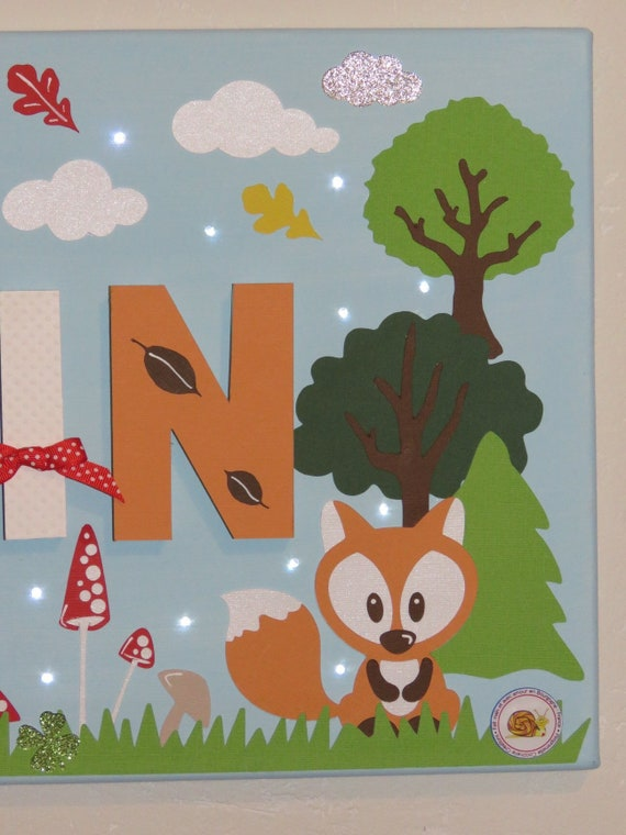 Table name boy, name, table light name, personalized, table cloth table  deco forest Fox