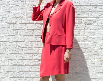 Red Two Piece Skirt Suit