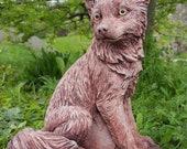 Beautiful FOX Stone Animal Statue Bespoke Highly Detailed Garden Ornament Decor