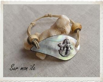 Mermaid Pearl of Polynesia, elastic bracelet white Horn beads
