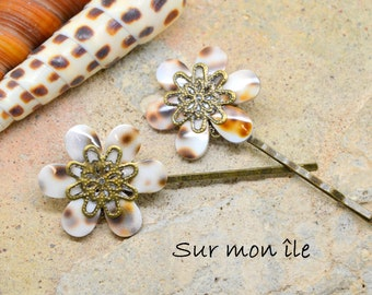Shell flower hair Bobby pin