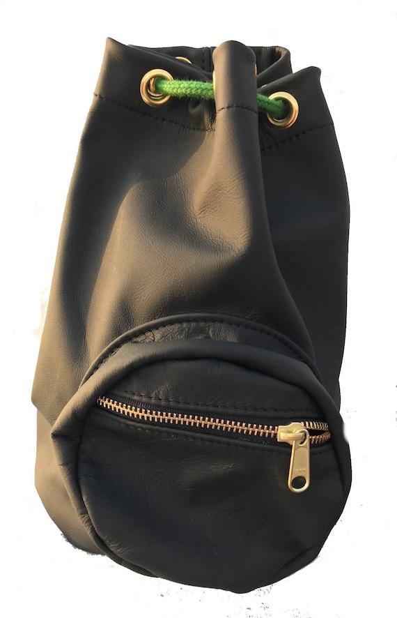 fe25c89fa5b0 Black Leather Duffle drawstring bucket bag gym bag travel
