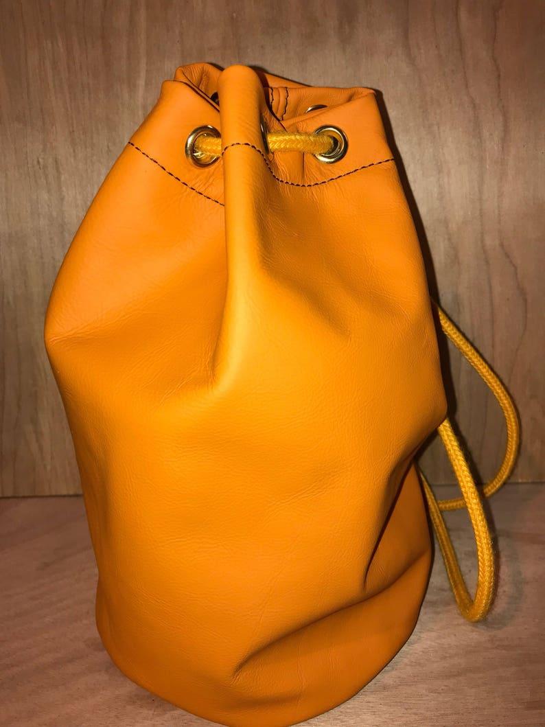 3cf5ab26766e Orange Genuine Leather Duffle bag Drawstring bag sailor