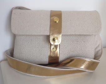 Gold leather and fabric shoulder bag