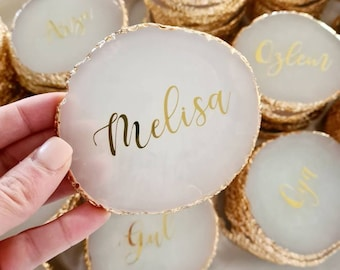 Personalised Agate Look Coasters or Place Cards