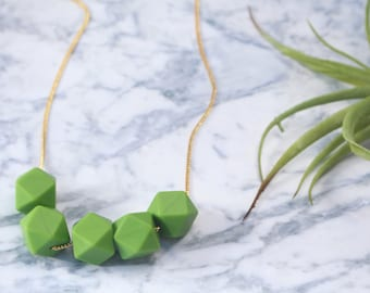 silicone beads necklace, beaded necklace, green necklace, colorful necklace, geometric necklace, beaded jewelry, gift for her